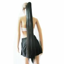 Clip On In Black Long Straight Ponytail Hairpieces Claw Hair Extension Wig 47""