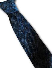 Vintage 1960s Corbata Fina Resplandeciente Azul y Negro Rat Pack Mod 6cm