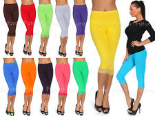 Cropped Leggings With Lace 3/4 Length Casual Cotton Pants Hot Colours Sizes 8-20