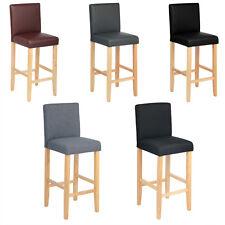 Tabouret de bar en bois massif Chaise avec dossier en lin/cuir artificiel f129
