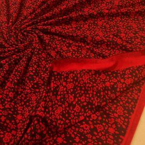2.1 Metres Red & Black Ditsy Floral Print Viscose Elastane Fabric