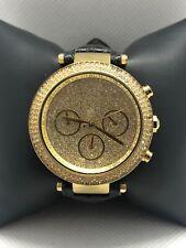 Michel Kors MK5856 Women Black Leather Analog Gold Dial Genuine Wrist Watch BP09