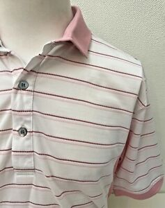 Slazenger Golf Mens Pink Mix Striped Short Sleeve Golf Polo Shirt - Large