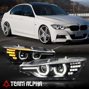 Fits 2012-2016 BMW F30/F31{DUAL 3D HALO/LED SIGNAL/DRL}Black Projector Headlight