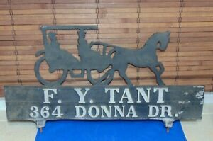 Vintage HORSE & BUGGY Address *Plaque* ALUMINUM TOP 16 x 9