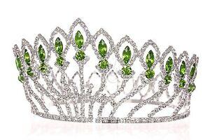 Full Crown Green Rhinestone Crystal Bridal Pageant Prom Wedding Tiara 1185