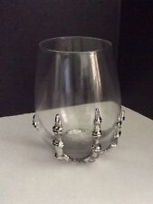 Pottery Barn Skeleton Stemless Wine Glass Gothic Halloween 1 New In Box