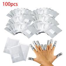 100 PCS Nail Art Soak Off Gel Polish Acrylic Shellac Foil Nail Wraps Remover UK