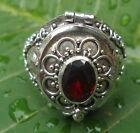 925 Solid Silver Balinese Poison Wish Locket Ring Garnet Cut Size 10-H120