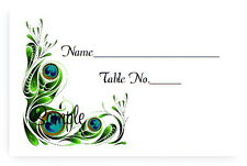 100 Personalized Custom Peacock Bridal Wedding Table Place Cards Tent Fold