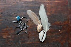 Lovely Handmade Blue Turquoise Chunk & Silver Key Charm Keyring Key Ring