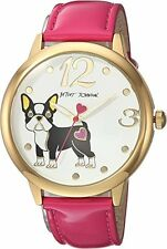 Betsey Johnson Women's Bj00280-26 French Bulldog Gold/Pink Strap Dog Watch