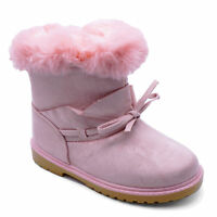 GIRLS CUTE FUR-LINED ANKLE CALF PINK WARM WINTER BOOTS SHOES JUNIOR SIZES 8-1