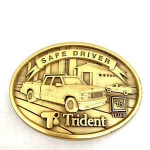 Trident Safe Driver 18 Years Solid Brass Vintage Belt Buckle Advertising