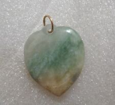 Green Jade Heart Pendant with 14 K Gold Over .925 Sterling Silver Chain Passage