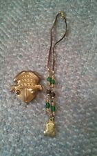 000 Inca Frog Necklace & Pin Brooch Gold Tone?