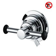 Vacuum Towel Hooks Suction Cup Bathroom Kitchen Double Coat Rack Chrome