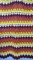 Vintage 70s Handmade Crochet Afghan Lap Throw Blanket Shell Brown Yellow 44x68