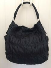 PRADA BLACK NAPPA LEATHER GAUFRE HOBO BAG