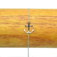 Bracelet Acier inoxydable fin chaine jonc Ancre marine Réglable BRA006-Argenté