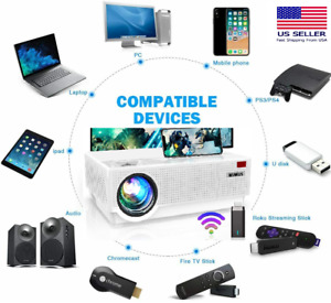"""400 """" 7000L Lumens Wi-Fi 4K HD 1080P Home Theater Projector HDMI pour PC PS4"""