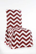 Twill Cotton Chevron Pattern Full Dining Chair Slipcover Cover Tie Back