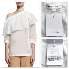 NWT $445 ROBERT RODRIGUEZ white cotton silk one-shoulder ruffle top 4