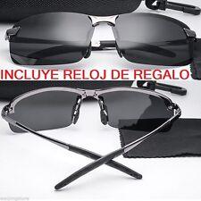 Gafas de sol Polarizadas, Sport Metal Frame, Lentes HD Gris, + FUNDA Y RELOJ