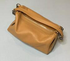Tods Leather Handbag Womens Purse Beige Tan Double Chain Strap Shoulder Bag