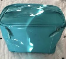 Clinique turquoise vinyl cosmetic tote with handle Double zipper