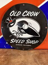 New Listing1942 Vintage 'Old Crow ' Gas & Oil Pump Plate Porcelain Sign 12' Round
