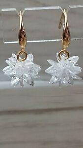 Snowflake icicle Drop Dangle Pierce Earrings Kawaii Fairy Kei Style