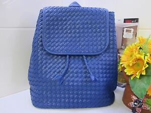 NEW - Backpack - Ms Hand Woven - Genuine SOFT Leather to front PU to back- Blue