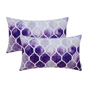 "2Pcs Grey Purple Eggplant Cushion Cover Bolster Pillow Shell Chains Decor 12x20"""