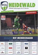 Programm FC Gütersloh - RSV Meinerzhagen 08.03.2020 - Oberliga Westfalen 2019/20