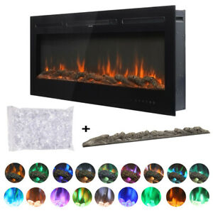 Panoramic 60inch Black LED Fireplace Inset/Wall Into Electric Fire 9 Color Flame