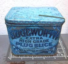 VINTAGE Edgeworth 4.25 x 3.5 x 3 inch plug slice pipe tobacco tin, Faded but fun