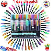 UK ✔ 48 Gel Pen Set Metallic Pastel Glitter Neon Pens For Adult Colouring Book