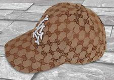 GUCCI CAP HAT BEIGE ORANGE ONE SIZE ADJUSTABLE BASEBALL CANVAS CHECKED