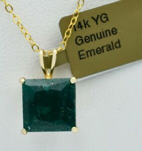GENUINE 4.33 Cts EMERALD PENDANT 14K GOLD * MADE IN USA * Free Appraisal *