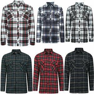 Mens Brushed Fleece Thermal Check Lumberjack Flannel Shirt Warm Winter Work Top