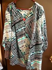NWT - Avenue - 30 / 32 - 2 Fer Button Front W/ Cami Tunic - Black / Blue