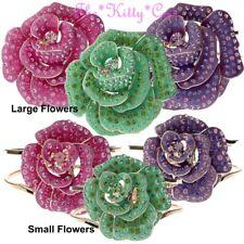 Designer Luk Chic Enamel Floral Rose Flower Corsage Bangle w/ Swarovski Crystals