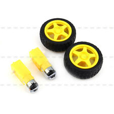 Hot Sale 2Pcs Arduino Smart Car Robot Plastic Tire Wheel with DC 3-6v Gear Motor