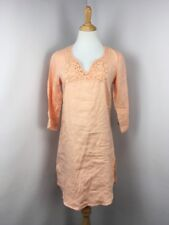 MALVIN sz M 100% peach linen lace tunic summer dress open end Germany cover up