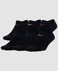 $52 Nike Women's 6-Pack Black Logo Dri-Fit No-Show Performance Socks Size M