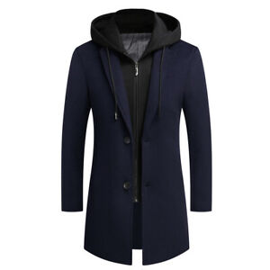 Business Men Suits with Hood Wool Blend Long Overcoat Hooded Jacket Winter Warm