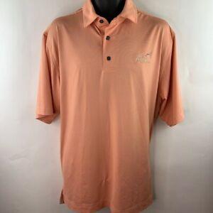 The General At Eagle Ridge FootJoy Mens Polo Shirt Orange Striped Stretch Top L