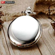 Quartz Necklace Antique Pendant Gift Vintage Silver Smooth Pocket Watch Chain