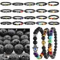 Unisex Lava Rock Stone Bead Buddha Prayer Gemstone Balance Bracelet Yoga Bangle